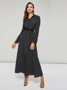 Ericdress Polka Dots A-Line Ankle-Length Polo Neck Lace-Up Pullover Dress Fashion girls, party dresses long dress for short Women, casual summer outfit ideas, party dresses Fashion Trends, Latest Fashion # Long Shirt Dress, Collar Dress, Dot Dress, Types Of Sleeves, Fashion Dresses, Maxi Dresses, Party Dresses, Jeans, Casual