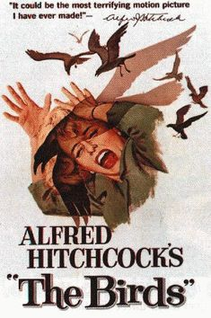"""The Birds"", 1963. Protagonizada por Tippi Hedren, Rod Taylor, Jessica Tandy, Suzanne Pleshette y Veronica Cartwright."