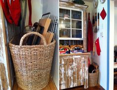I love this idea.  A basket for cookie sheets and cutting boards.
