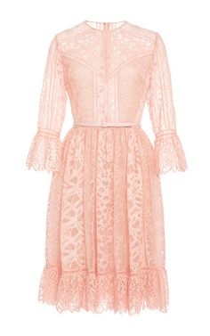 Lace and Ajoure Lace Short Dress by Elie Saab for Preorder on Moda Operandi
