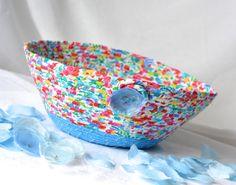 $25 #Blue #Summer #Basket #Handmade #Fabric #Bowl #Brush #holder #sky #blue #remote #control #holder by #WexfordTreasures