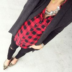 Like this whole outfit.  Comfy looking cardigan, great black jeans. Would love some black & red plaid.
