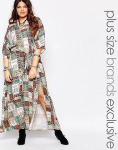 Alice+&+You+Tile+Print+Wrapover+Maxi+Dress+With+Kimono+Sleeve
