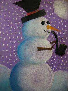 """Snowman at Night""......Chalk Pastel ... A child's art work.... so nice!!!"