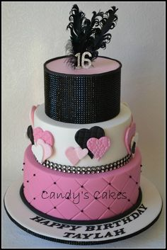 Pink and Black Diamonds Glitz hearts cake