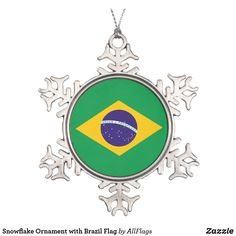 Shop Snowflake Ornament with Brazil Flag created by AllFlags. Snowflake Ornaments, Ball Ornaments, Snowflakes, Christmas Crafts, Christmas Decorations, Christmas Ornaments, Christmas Trees, Brazil Flag