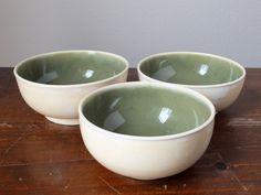 "Ceramic Bowls Wheel Thrown Pottery In ""Ivory Sencha"""