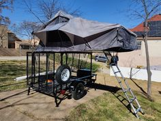 With his roof top tent installed on his DIY No Weld Rack outfitted utility trailer, James is ready for some Tventuring! Diy Roof Top Tent, Utility Trailer, Camping Trailers, Compact, Drop, Cities, Scenery
