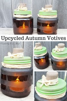 I love to use empty jars to create and upcycle into my crafty projects. I have saved two empty brown yeast jars and thought they would be amazing to etch wit… Glass Jars, Candle Jars, Candle Holders, Mason Jar Crafts, Mason Jars, Fall Crafts, Crafts For Kids, Altered Boxes, Trash To Treasure