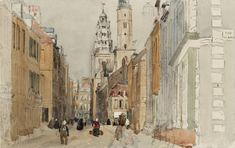 David Cox 'Calais: Street Scene with Lighthouse', c.1829–32