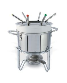Cuisinox Elite Fondue Set by Cuisinox (Import). $119.90. Porcelain insert. 3 quart capacity. Graduated interior markings. Induction compatible 3-ply base. Cuisinox Elite 11 piece Fondue Set, porcelain insert and 3-ply cooking pot. Great for cheese, chocolate or Chinese fondues. Also included;  6 fondue forks, a stainless steel base and burner.