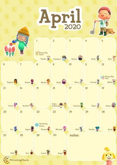 Printable Monthly Calendar for the month of April, complete with villager Birthdays and the timeframe for Bunny Day and Earth Day! It's free but please consider supporting my work on Ko-fi! Animal Crossing Guide, Animal Crossing Villagers, Animal Crossing Characters, Calendar For April, Its My Birthday Month, Birthday Quotes For Me, Nerdy, Photos, Printables
