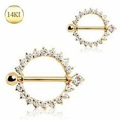 """14 Kt. Yellow Gold Nipple Jewelry with a Circle Covered with Finest Clear Cubic Zirconia - 14g (1.6mm), 5/8"""" (16mm) Length, 2.6g Weight - Sold Individually WickedBodyJewelz - Nipple Jewelry. $341.25"""