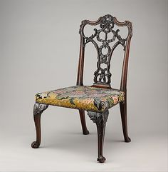 Side Chair, c.1755–60  after a design by Thomas Chippendale  (1718–1779)  Mahogany; tent stitch embroidery on canvas