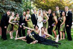 fun group wedding bridal party photo - green matching bridesmaids dresses | Anna Rozenblat New York Wedding Photography | www.AnnasWeddings.com