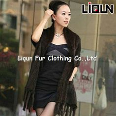 LIQUN 2014 super thick women use real mink fur handmade knitted shawl/scarf US $583.40