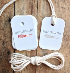 Handmade with love tags - bakers tags with bakers twine - homemade food tags - holiday tags