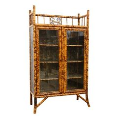 English Antique Bamboo Cabinet with Laquer Top : On Antique Row - West Palm Beach - Florida. Guest house