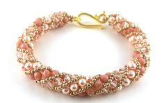 Russian Spiral Beaded Woven Bracelet in Peach Swarovski Pearls Swarovski Crystals Czech Glass Beads by BeBoDesigns on Etsy