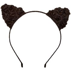 Black Flower Cat Ears Headband ($7.99) ❤ liked on Polyvore featuring accessories, hair accessories, head wrap hair accessories, flower headwrap, hair band headband, hair band accessories and cat ear hairband