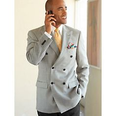 Wool & Silk Houndstooth Double-Breasted Sport Coat $220.00 1920s formal suit style sport coat in grey houndstooth patterm Store: Paul Fredrick MenStyle