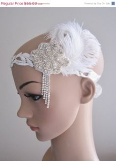 The Great Gatsby 1920s white ostrich feather by PeacockandLotus, $38.50