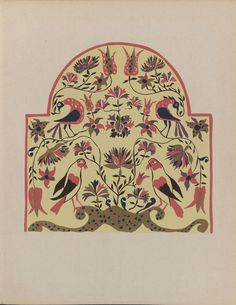 Pennsylvania German designs : a portfolio of silk screen prints / The Index of American design, the National Gallery of Art, research by the Pennsylvania WPA art project. 1943. Metropolitan Museum of Art (New York, N.Y.). Thomas J. Watson Library. Metropolitan Museum of Art Publications. #pennsylvaniadutch #flowers #birds | A stunning example of the Pennsylvania German design sense.