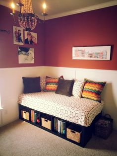 DIY DAYBED: IKEA-- two Expedit shelving units ($59.99 each) and the Sultan Lade slatted twin bed base ($9).