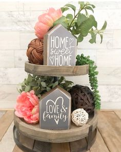 REVERSIBLE / two sided Rustic tiered tray decor farmhouse Rustic Farmhouse, Farmhouse Style, Lets Stay Home, Wood Tray, Wooden House, Tray Decor, House In The Woods, Solid Wood, Sweet Home