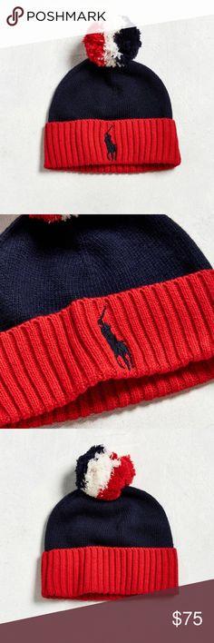Polo by Ralph Lauren Pom Beanie Polo by Ralph Lauren Pom Beanie (Red, White and Blue) Polo by Ralph Lauren Accessories Hats