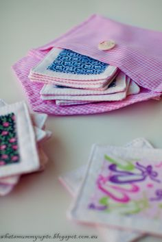 Matching Game using fabric scraps. This would be great for diaper bag. L loves matching games right now. making this soon