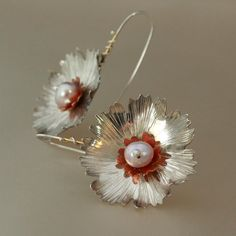 Sterling Flower Earrings with Copper and Pearls by MetalLuxe, $82.00