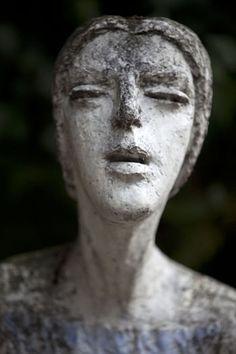Expressive sculpture of woman at Vyšehrad cemetery, Prague, Czech Republic
