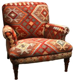Using a kelim rug as upholstery is a great way to update an older armchair Totally chic and nowhere near as pricey what you'd have to spend for new is part of Southwestern chairs - Southwestern Chairs, Southwestern Decorating, Southwest Decor, Southwest Style, Western Furniture, Rustic Furniture, Furniture Decor, Funky Furniture, Furniture Online