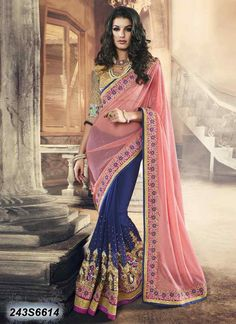 Engrossing Blue Coloured Georgette Embroidered Saree