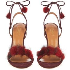 Aquazzura Wild Russian fur and suede sandals (5,535 CNY) ❤ liked on Polyvore featuring shoes, sandals, heels, high heel stilettos, strappy stiletto sandals, thin-strap sandals, strappy sandals and suede sandals