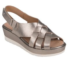 Earth Shoes Sunflower Women's Washed Gold Medium US Metallic Sandals, Leather Sandals, Metallic Leather, Soft Leather, Sport Sandals, Wedge Sandals, Women Sandals, Shoes Women, Shoes