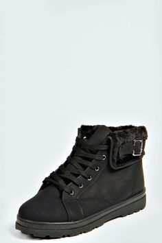 Lena Shearing Lined Lace Up Ankle Boots at boohoo.com