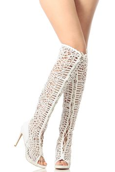 White Faux Leather Lace Up Open Toe Thigh High Boots @ Cicihot Heel Shoes online store sales:Stiletto Heel Shoes,High Heel Pumps,Womens High Heel Shoes,Prom Shoes,Summer Shoes,Spring Shoes,Spool Heel,Womens Dress Shoes