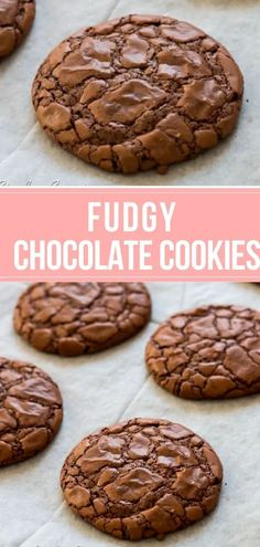 Chocolate cookies with shiny crunchy tops and chewy fudgy centers. This brownie-like cookie is made from lots of real chocolate and is a must have recipe for chocolate lovers.