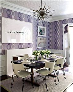 This was the kitchen at the Kips Bay show house in 2010. It was my favorite room in the house! Great use of wallpaper with various shades of purple. Design by Eve Robinson.