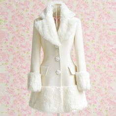HOT Women Elegant Winter Faux Fur Long Warm Coat Parka Wool Trench Overcoat S-XL picclick.com
