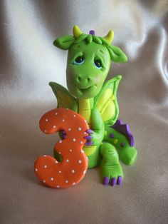 dragon birthday cake topper decoration children by clayqts on Etsy, $32.95
