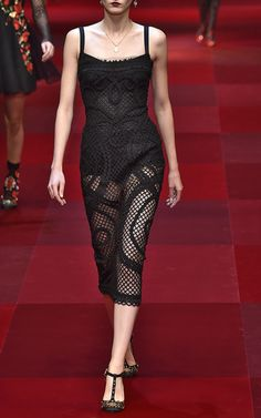 Strapless Netted Lace Sheath Dress by Dolce & Gabbana for Preorder on Moda Operandi
