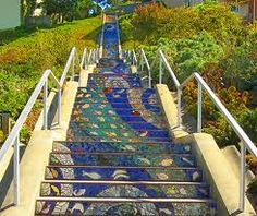 Avenue Mosaic Staircase,San Francisco, CA (Photo: John F. Hughes)San Francisco, CA (Photo: John F. Hughes) San Francisco, CA.I have to see this. Mosaic Stairs, Mosaic Tiles, San Francisco, Graffiti, Take The Stairs, Stairway To Heaven, Travel And Leisure, Public Art, Stairways