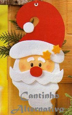 Risultati immagini per decoracion de navidad papa noel Christmas Projects, Felt Crafts, Holiday Crafts, Diy And Crafts, Santa Crafts, Christmas Ideas, Holiday Decor, Felt Christmas Ornaments, Noel Christmas
