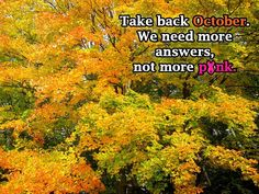 Take back October. We need more answers not more PINK.....  Amen to that!