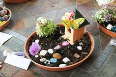 CatchMyParty.com Instead of a fairy garden party, I'd just make it a regular garden party because its for tween girls. A table set up for a tea party, and area to make/decorate terrariums or whatever you call the picture to go with this, then some other activities.