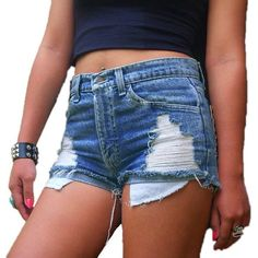 Women's Juniors Distressed Cut Off Ripped Jean Shorts High Waist Denim... (£8.98) ❤ liked on Polyvore featuring shorts, high-waisted denim shorts, high rise jean shorts, high-waisted shorts, denim cut-off shorts and distressed denim shorts