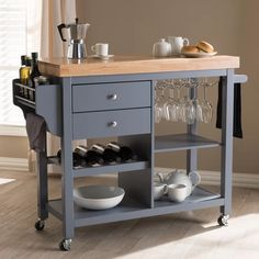 Baxton Studio Sunderland Coastal & Farmhouse Grey Wood Kitchen Cart - versatile and stylish Sunderland kitchen cart is perfect for a busy host. The Sunderland's calming coastal and farmhouse design belies its many helpful features. Two pull-o Online Furniture, Cheap Furniture, Furniture Stores, Discount Furniture, Furniture Buyers, Furniture Websites, Furniture Market, Inexpensive Furniture, Furniture Outlet